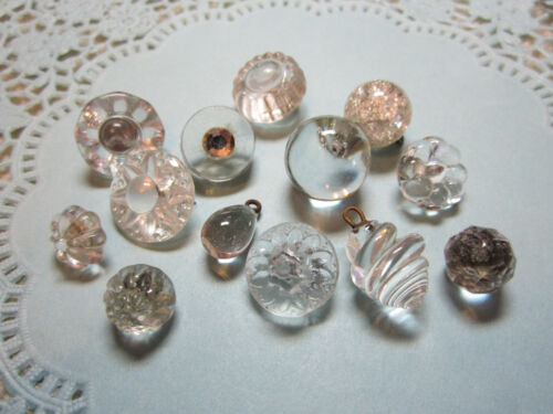 LOT OF GORGEOUS ANTIQUE/ VICTORIAN CLEAR GLASS CHARMSTRING BUTTONS