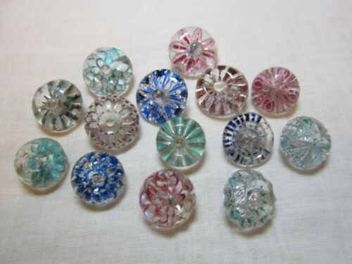 GREAT LOT OF 14 ANTIQUE/ VICTORIAN PAINTED BACK GLASS CHARMSTRING BUTTONS
