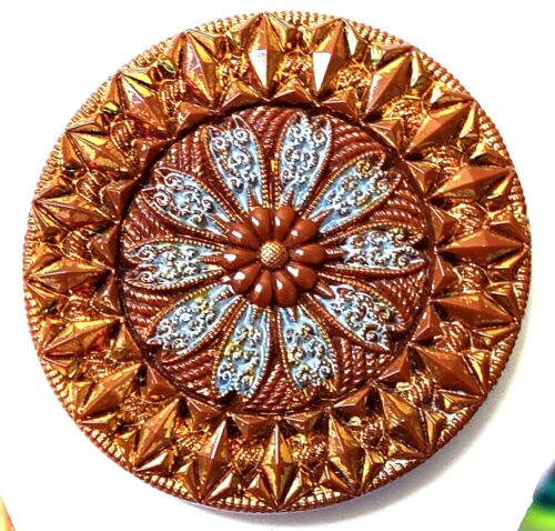 """Antique Button…Fab Large Lacy Brown Glass Button w Gold & Blue Lusters….1&3/8"""""""