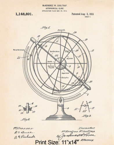 """Space Gifts For Adults Astronomy Geeks Gift Ideas For Globe 11""""x14"""" Patent Print"""