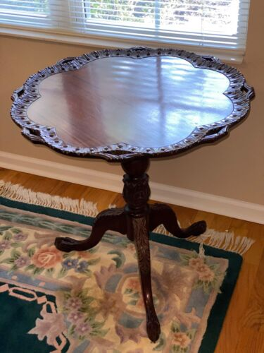 Antique Chippendale Folding Tray Table with Claw Foot Pedestal, Ornate Trim