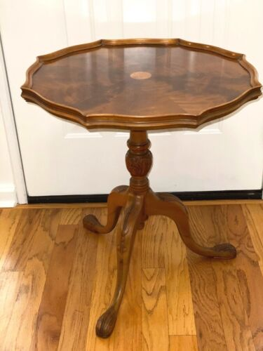 Antique Small Round Pedestal Tray Table in Gorgeous Figure Maple