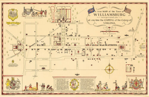 "Historic Pictorial Map Williamsburg Incorporated 1722 Art Print Poster 11""x16"""