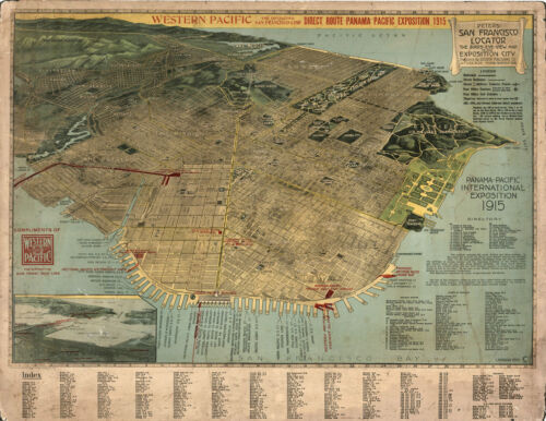 "1914 Map Pictorial Birds-Eye-View of San Francisco 11""x14"" Wall Art Poster Decor"