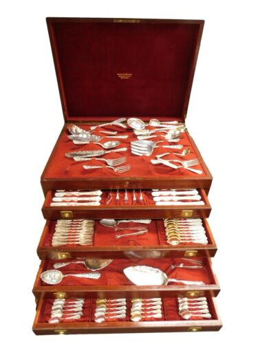 Cluny by Gorham Sterling Silver Flatware Service Massive Set with Vintage Chest!