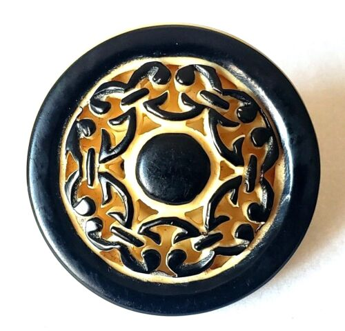 """Antique Vintage Button…""""Lacy Celluloid""""…Intricately Hand Carved...Black & Cream"""