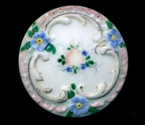 """Antique Button…Large Fabulous Milk Glass with Pink & Blue Flowers…BBB…1&5/16"""""""