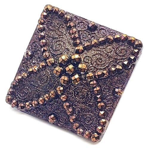 Gorgeous Dated 1880 Antique Lacy Black Glass Square Button with Bronze Luster
