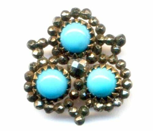 Button…Turquoise Glass Cabochons with Loads of Cut Steel…Super Cute Shape