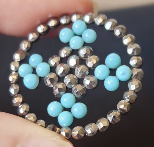 Antique Button…Large Riveted Turquoise Glass with Sparkly Cut Steel Border
