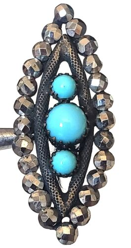 Large Antique Spindle Button…Riveted Turquoise Glass w Sparkly Cut Steel Border