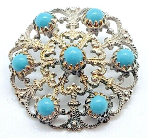 Antique Button...Fancy Pierced Metal with Turquoise Glass Cabochons