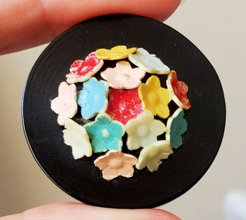 Large Vintage Celluloid Button…Pile of Colorful Flowers..17 Separate Components!