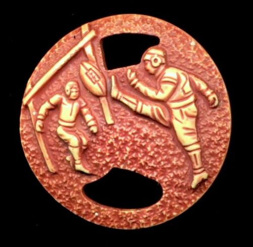 Lg Vintage Button…Pierced Celluloid 1-Piece 30's Football Players…Unusual Color