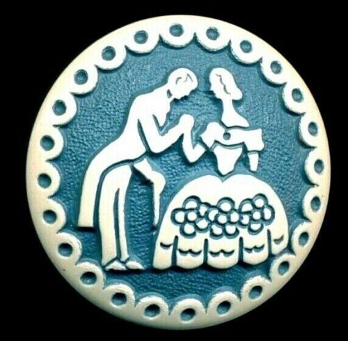 """Vintage Button…Lovely Blue Pictorial Buffed Celluloid…Colonial Couple ….1&1/8"""""""