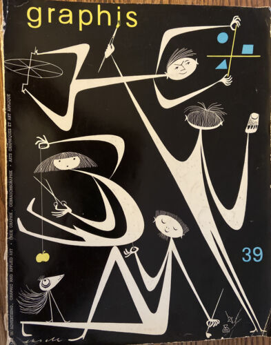 1952 GRAPHIS #39 Watermarks Indian Painting Poster Ads Upjohn Art in France