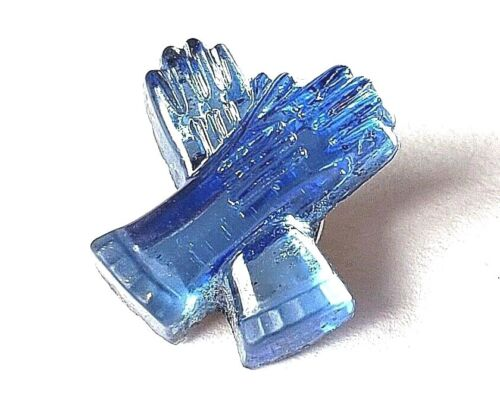 """Vintage Mirror Back Blue Glass Realistic Button…Gloves…5/8"""""""