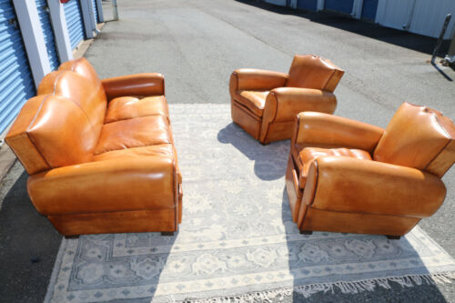 Art Deco Leather Mustache Club Chairs and Sofa