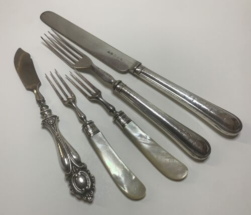 5 Pieces Antique 19thCentury Sterling Silver Handle Cutlery Forks Knife Hallmark