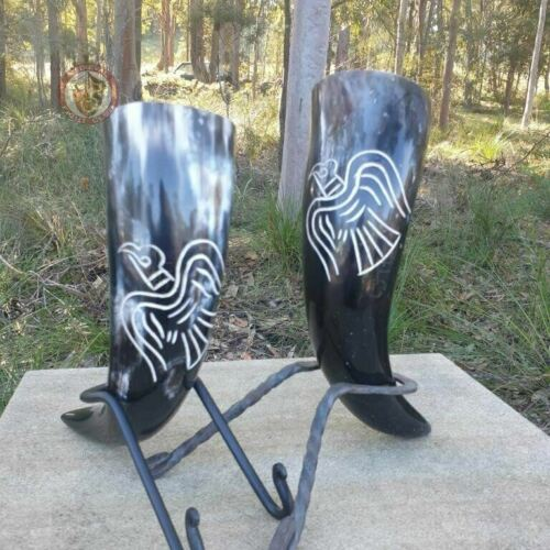 Drinking Horn - Raven - Viking Norse Medieval Reenactment Feasting