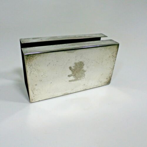 """Vintage 5"""" Silver Silverplated Match Box Slip Cover with Engraved Rampant Lion"""