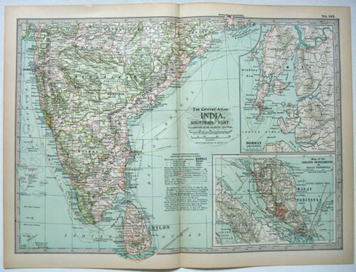Original 1902 Map of Southern India by The Century Company. Antique