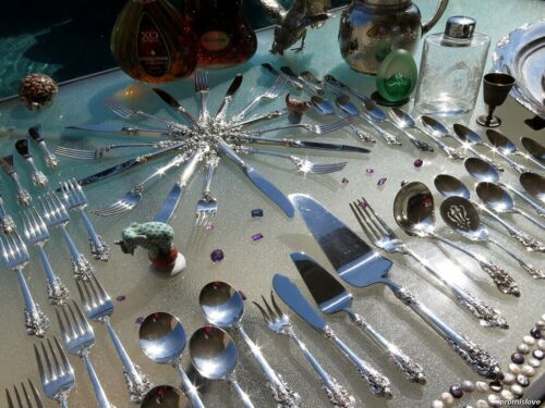 LARGE WALLACE GRAND BAROQUE STERLING SILVER FLATWARE OLD SET SERVERS RARE HEAVY