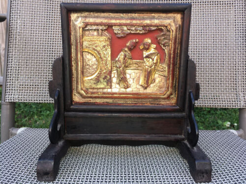 Antique Chinese Hand Carved Small Wood Furniture Panel Plaque With Stand Gilt