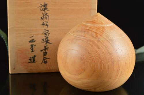 #5662: Japanese Wooden Lacquer ware jewel-shaped INCENSE CONTAINER, auto