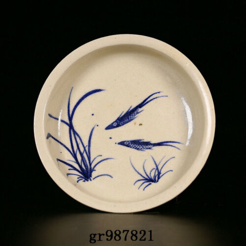 """5.6"""" Antique Chinese Porcelain Tang dynasty Blue white double fish Brush Washer"""