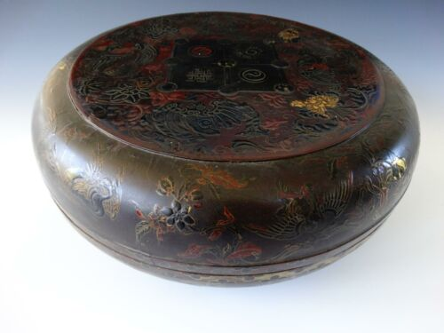 Rare Large Chinese Gilt Lacquer Box and Cover 18th Imperial Dragons Peaches