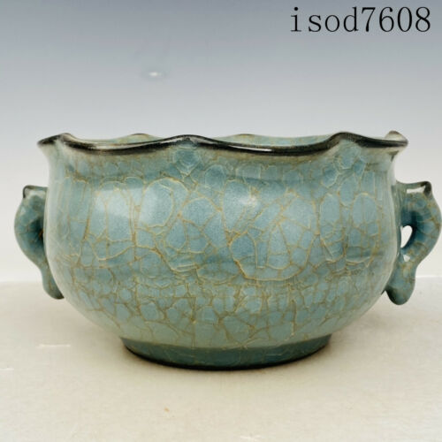 """9.2""""China antique Song dynasty Official porcelain borneol Double ear furnace"""