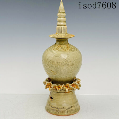 """12""""China antique Song dynasty Porcelain Yue Kiln Tower furnace"""