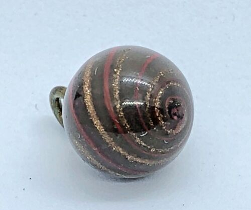 Antique Charmstring Chocolate Brown Glass Button w Red Glass & Goldstone Swirl