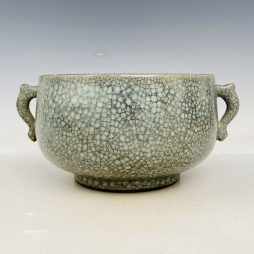 antique Chinese Song dynasty Ge porcelain inscription Double ear furnace