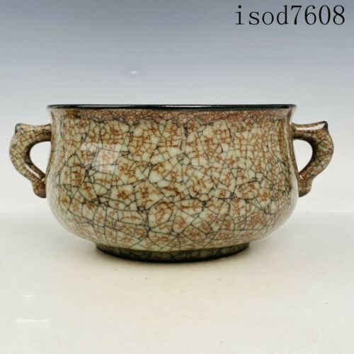 antique Chinese Song dynasty Porcelain Ge porcelain Double ear furnace