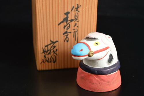 U5199: Japanese Pottery Horse-shaped INCENSE CONTAINER w/signed box