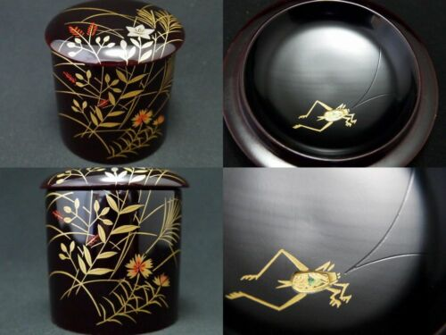 Japan Lacquer Wooden Tea caddy Autumn flowers & Bell Cricket makie Natsume  512
