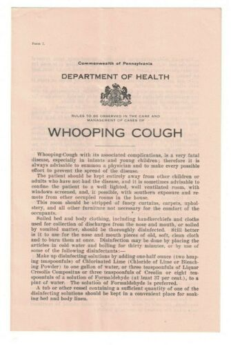 Whooping Cough 1915 Booklet Pennsylvania Department of Health