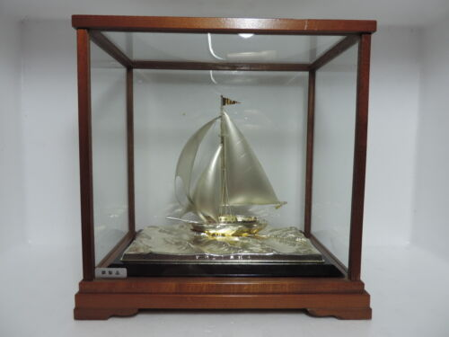 MASTERLY H-CRAFTED VINTAGE SOLID STERLING SILVER 970 SHIP SAILBOAT YACHT JAPAN