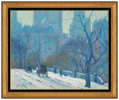 Laurence A Campbell Original Painting Oil on Canvas Signed New York Winter Scene