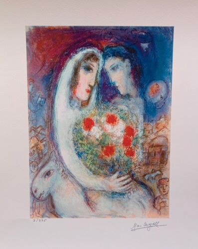 """Marc Chagall MARRIAGE Facsimile Signed & Numbered Giclee Art 17"""" x 13"""""""
