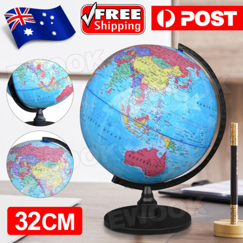 32cm World Globe Map Blue Ocean Swivel Stand Geography Educational Toy Gift New