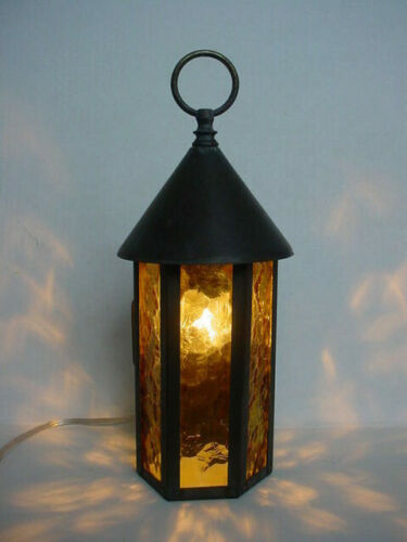Original Arts & Crafts Bungalow Porch Lamp Brass with Amber Glass Panels
