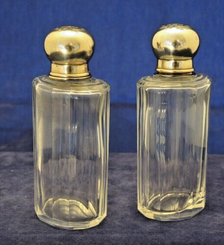 PAIR ANTIQUE FRENCH SILVER TOP & FLUTED GLASS PERFUME BOTTLES STOPPERS MONOGRAM#