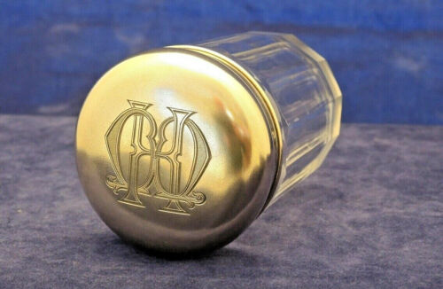 ANTIQUE FRENCH SILVER TOP & FLUTED GLASS TOILETRY JAR MONOGRAMMED #10