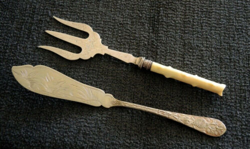 ANTIQUE SILVER PLATE AESTHETIC MOVEMENT BUTTER KNIFE + IVORINE HANDLE BREAD FORK