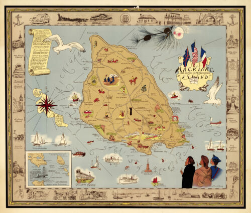 """Early Pictorial Map Mackinac Most Historic Spot in Michigan 11""""x13"""" Wall Poster"""