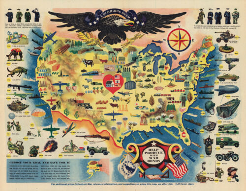 """1944 Map Pictorial Military WWII War Bonds Poster History Wall Art Print 11""""x14"""""""