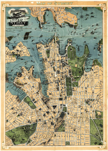 1922 Aeroplane Map of Sydney New South Wales Australia 11x16 Poster Home School